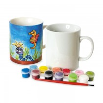 TY4073 - Toyrific Paint Your Own Mug Set with Paints & Paintbrush for Creative Play Arts & Crafts