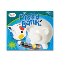 TY4074 - Toyrific Paint Your Own Piggy Bank with Paints & Paintbrush for Creative Play Arts & Crafts